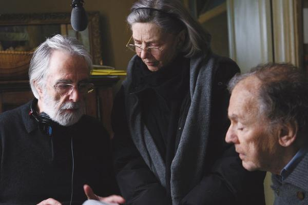 """Amour"" writer-director Michael Haneke discusses a scene with his leads, Emmanuelle Riva and Jean-Louis Trintignant. The film is a heavy favorite to win foreign language feature."