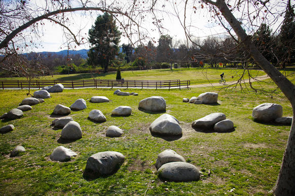 The green space below Sepulveda Dam includes sylvan landscaping that echoes Mother Nature's work. The walk begins at a parking area near a cricket lawn and heads south along Haskell Creek.