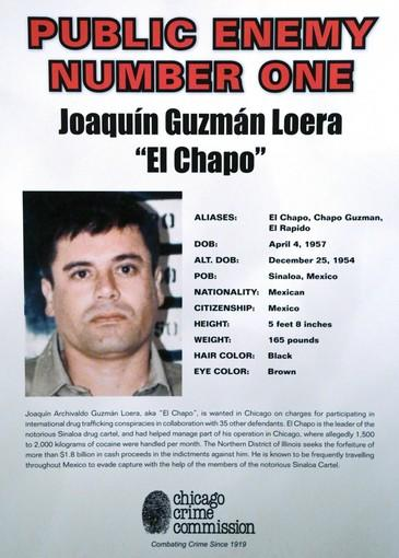 "This poster displayed at a Chicago Crime Commission news conference last week in Chicago shows Joaquin ""Chapo'' Guzman, a drug kingpin in Mexico. Reports that Guzman had been killed Thursday in Guatemala apparently were false."