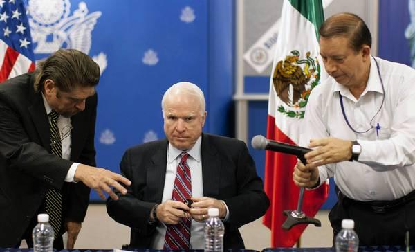 U.S. Sen. John McCain (R-Ariz.) prepares for a news conference in Mexico City after his closed-door meeting with Mexican President Enrique Peña Nieto.