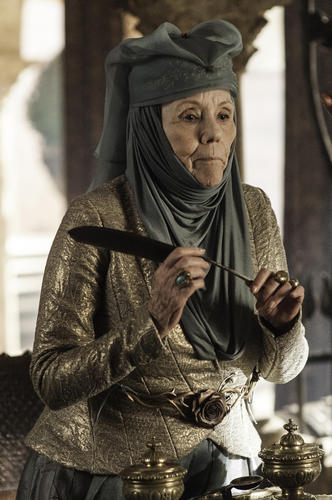 "Also known as ""The Queen of Thorns,"" Lady Olenna (Diana Rigg) is the grandmother of Margaery and Loras Tyrell and is, in many ways, the true leader of their powerful family."