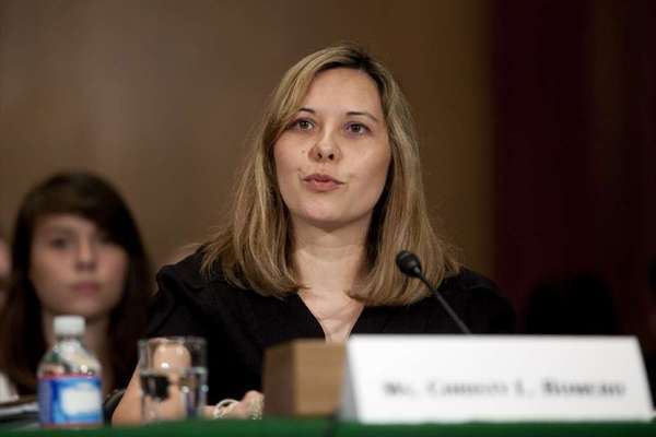 Christy Romero, the special inspector general with the Troubled Asset Relief Program, speaks during a Senate Banking Committee hearing in Washington.