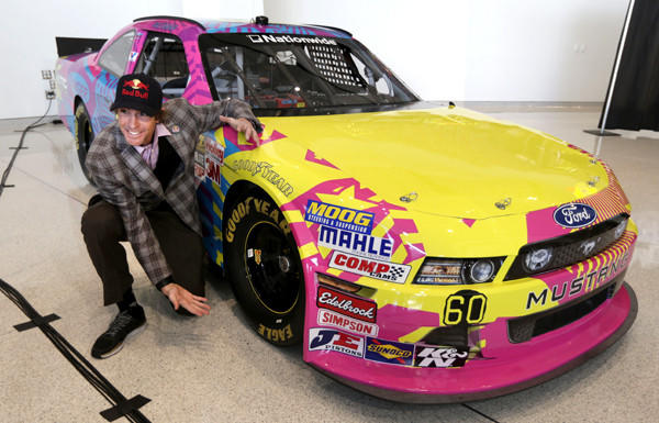 Travis Pastrana unveils his Nationwide Series car during a media event last month.