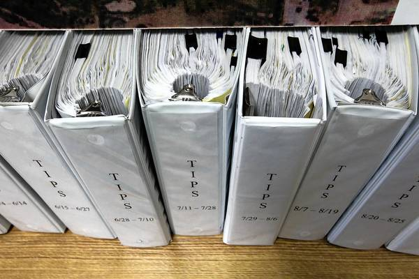 A room at Tinley Park police headquarters set aside for the Lane Bryant investigation is filled with binders full of notes, witness statements and case evidence.