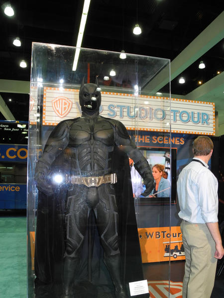 "The suit worn by Christian Bale in ""Batman Begins"" is on display at the L.A. Times Travel Show."