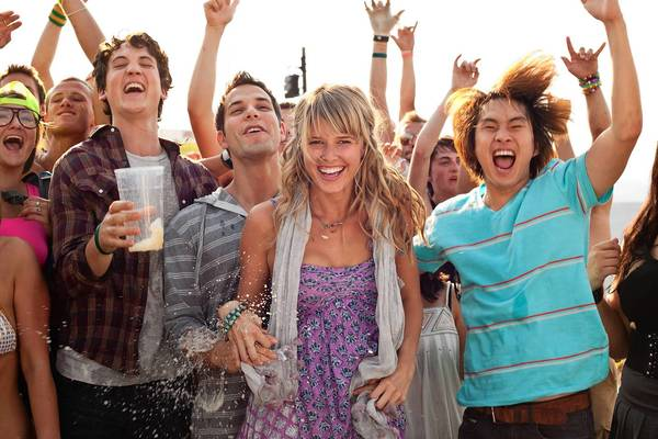 Myles Teller (left), Skylar Astin, Sarah Wright and Justin Chon star in '21 & Over.'