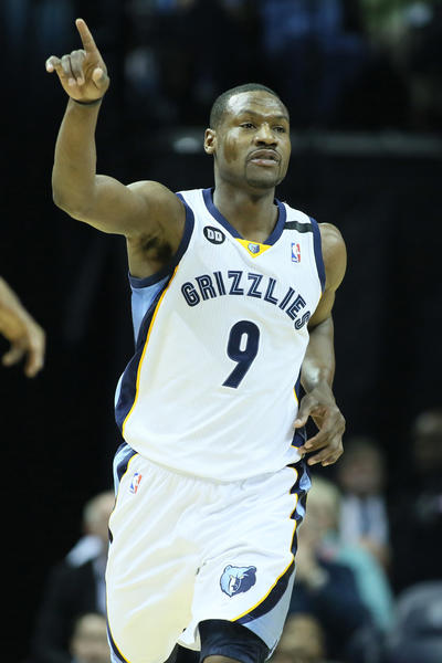 Memphis Grizzlies guard Tony Allen (9) celebrates after scoring against the Orlando Magic during the first half at the FedEx Forum.