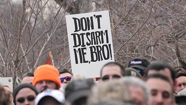 Signs were plentiful at Gun Appreciation Day in Hartford where gun owners and enthusiasts showed their support of the Second Amendment in Hartford, Connecticut, on January 19, 2013.