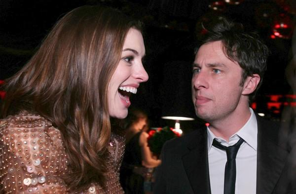"""Love and Other Drugs"" actress <a class=""taxInlineTagLink"" id=""PECLB005266"" title=""Anne Hathaway"" href=""/topic/entertainment/anne-hathaway-PECLB005266.topic"">Anne Hathaway</a> and actor Zac Braff laugh it up at InStyle's and Warner Bros.' 2011 <a class=""taxInlineTagLink"" id=""EVHST0000228"" title=""Golden Globe Awards"" href=""/topic/entertainment/golden-globe-awards-EVHST0000228.topic"">Golden Globe Awards</a> after-party at the Beverly Hilton."