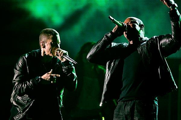 "Eminem and his mentor-producer Dr. Dre perform ""I Need a Doctor"" at the 53rd Grammy Awards."