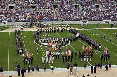 The Baltimore Ravens marching band forms the No. 19 during a tribute ceremony to Johnny Unitas before the Ravens game against the Tampa Bay.