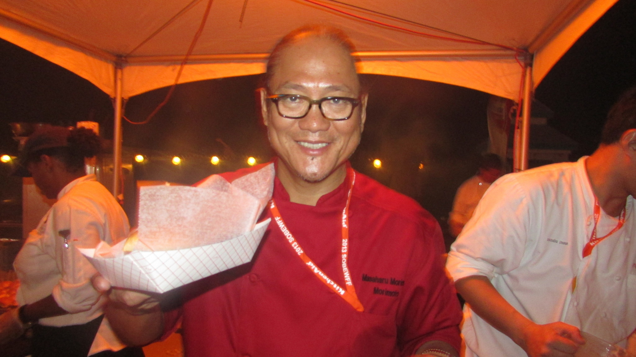 Celeb-spotting around South Florida - Chef Morimoto at Amstel Light Burger Bash