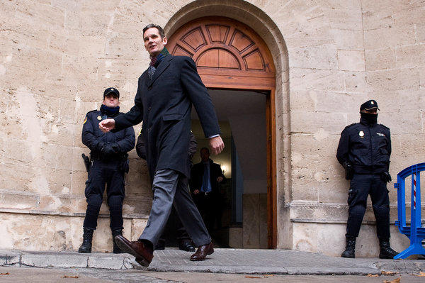 Inaki Urdangarin, the husband of Spain's Princess Cristina, leaves the courthouse of Palma de Mallorca after giving evidence at a corruption trial. Urdangarin and his former business partner are accused of embezzling millions of dollars from the charity they ran.