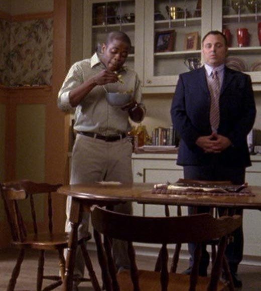 'Psych': The pineapple in (almost) every episode: When they have the intervention for Henry, Gus is eating pineapple slices out of a bowl.  Extra bonus points: Gus, dont be a giant snapping turtle.