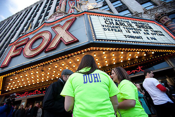 """Charlie Sheen brought his show """"Violent Torpedo of Truth/Defeat Is Not an Option"""" to Detroit's Fox Theatre on Saturday. Promising """"the real story,"""" the 45-year-old former """"Two and a Half Men"""" star hit the road for a month-long, 20-city variety show tour, with the first stop  in Detroit, where the audience was not kind."""