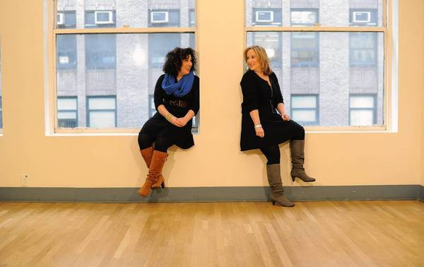 Lyricist Marcy Heisler, left, and composer Zina Goldrich are seen at Pearl Studios in Manhattan, NY.