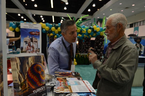 Talking Turkey as a travel destination at the booth sponsored by the Turkish tourism office.
