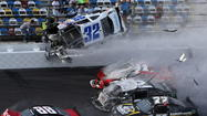 DAYTONA BEACH — Tony Stewart won Saturday's NASCAR Nationwide Series DRIVE4COPD 300, but it was a subdued victory as the triumph was marred by a major wreck that involved injuries to at least 28 fans in the grandstand.