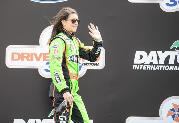 Danica Patrick during driver introductions before the Drive4Copd race at Daytona International Speedway. Daytona Beach
