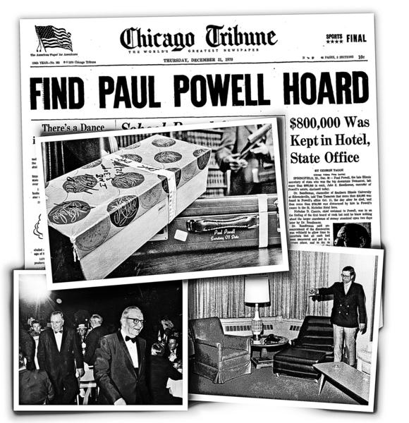 Days after Illinois Secretary of State Paul Powell died in 1970, a shoe box, above, was found filled with cash in his hotel suite, bottom right photo. In photo at bottom left, Powell is honored at a 1968 dinner attended by Chicago Mayor Richard J. Daley.