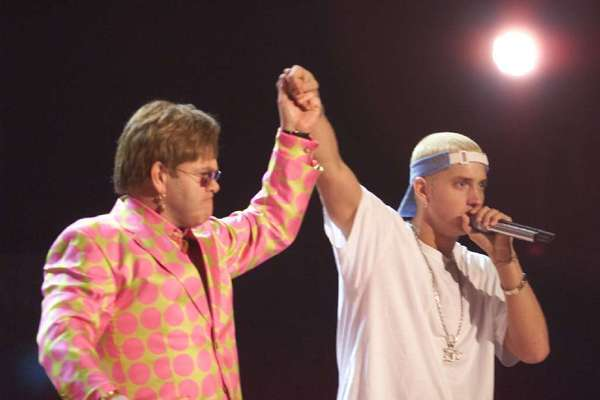 Elton John and Eminem at the 2001 Grammy Awards.