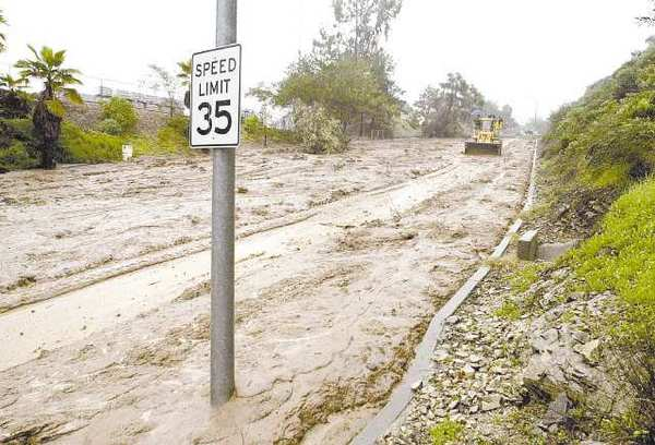 Mountain Street, east of Verdugo Avenue, became a slow-moving river of mud after rains in 2005 caused a mudslide to cover the street from one curb to the other.
