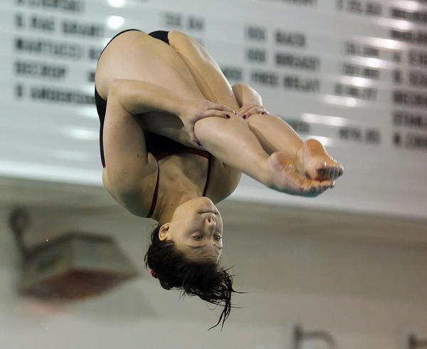 Parkland's Amanda Zerphy performs a dive during the District 11 Diving Championships at Emmaus High School on Saturday, February 23, 2013.