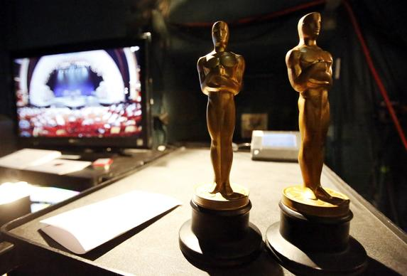 Stand-in Oscar statuettes are ready backstage during rehearsals on Saturday, Feb. 22, 2013, at Hollywood's Dolby Theatre for the 85th Academy Awards.