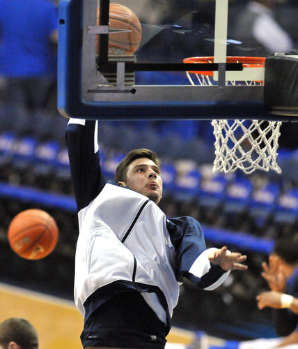 UConn's Tyler Olander during pregame warmups before facing DePaul at the Allstate Arena Saturday night.