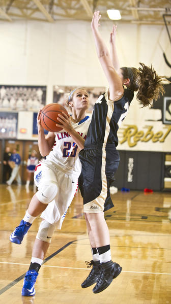 Lincoln County's Rachel Spangler (23) had 10 points, 10 rebounds, three assists and two steals in Friday's win.