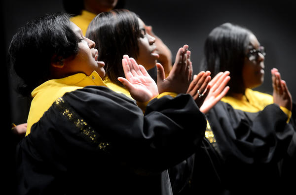 The Bowie State University Gospel Choir performed Saturday afternoon during the 4th Doleman Black Heritage Museum Celebration of Black History held at The Maryland Theatre.