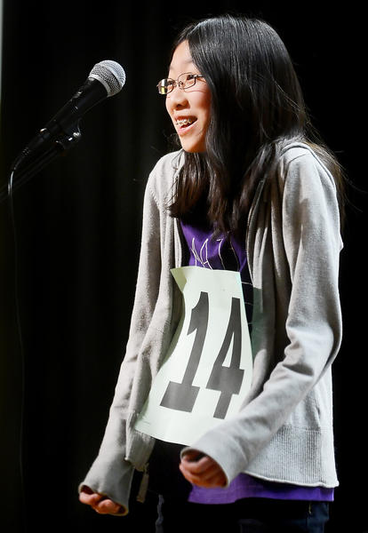 Jade Lee, an 8th grader at Smithsburg Middle School, won the 2012-2013 Washington County Spelling Bee Saturday afternoon at Western Heights Middle School.