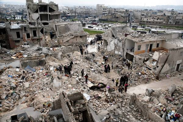 An Aleppo neighborhood lies in ruins after Syrian military airstrikes last week.
