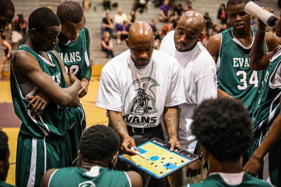 Evans coach Chucky Atkins has led his alma mater to the state tournament in his first season as coach. (Joshua C. Cruey, Orlando Sentinel)