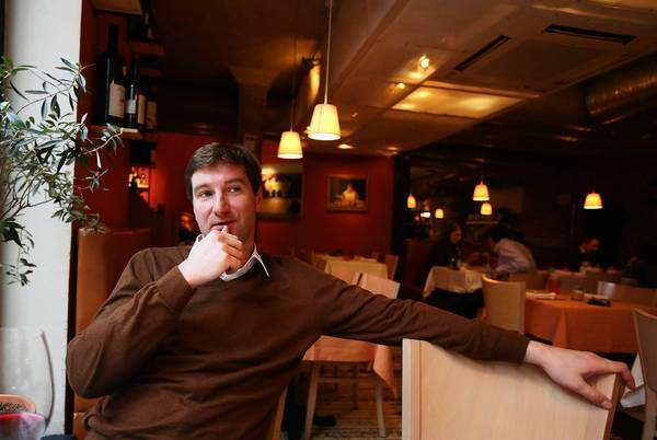 Russian Anton Krasovsky, who was fired from his TV show after revealing that he is gay, is interviewed in a Moscow restaurant.