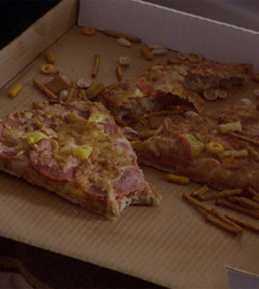 'Psych': The pineapple in (almost) every episode: The geologist has a pretty old Hawaiian pizza at his house.  Bonus points: The Gus alias is Chesterfield Macmillan.  Extra bonus points: Gus, dont be a myopic chihuahua.