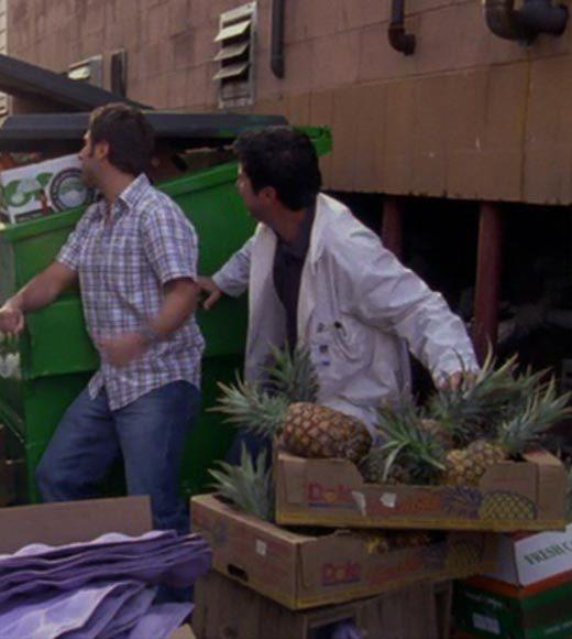 'Psych': The pineapple in (almost) every episode: There are crates of pineapples in the alley, which they almost start throwing at the bad guys, who have guns.  Bonus points: The Gus alias is Hollabackatcha.  Extra bonus points: Gus, dont be this crevice in my arm.