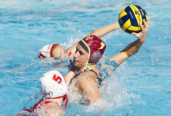 Ocean View's Brynne McNabb takes a shot and scores against Hemet.