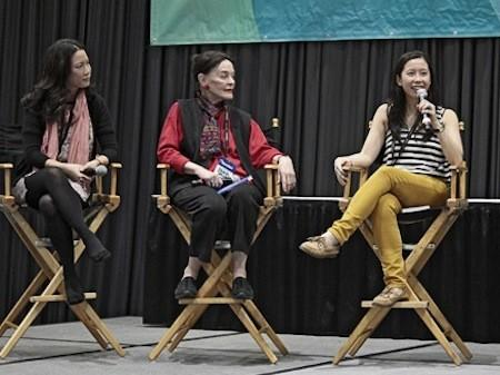 Food bloggers Tomo Kurokawa, left, Barbara Hansen and Cathy Chaplin discuss travel and food during a panel at the Los Angeles Times Travel Show.