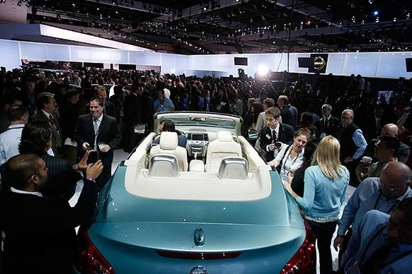 """Available this spring and in just one version, the Murano CrossCabriolet is the convertible incarnation of Nissan's most high-end SUV, with some key differences. Above, Nissan shows the vehicle at the 2010 L.A.  Auto Show. <br> <a href=""""http://www.latimes.com/business/la-fi-0407-autos-nissan-murano-conver20110407,0,1654593.story""""><u>See full story</u></a>"""