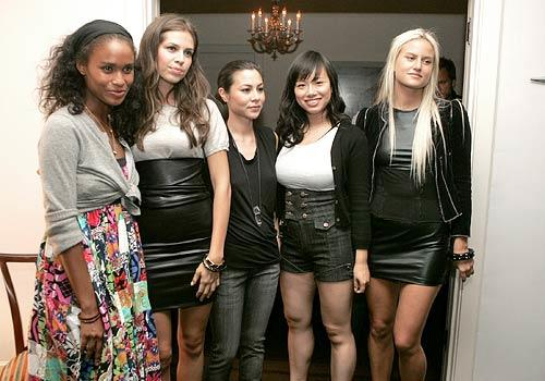From left: Joy Bryant, Dasha Zhukova, China Chow, Christina Tang and Olympia Scarry at a cocktail party for denim line Kova & T at Chateau Marmont.