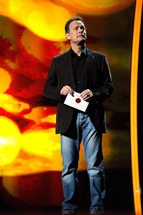 Tom Hanks rehearses announcing the winner for the art direction and cinematography award on stage in the Kodak Theatre as preparations and rehearsals continue for the Sunday's Academy Awards show.