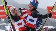 By winning the world title Sunday in the team sprint at the world championships, Kikkan Randall and Jessie Diggins gave the United States its first gold medal ever in cross-country skiing at either the worlds or Olympics.