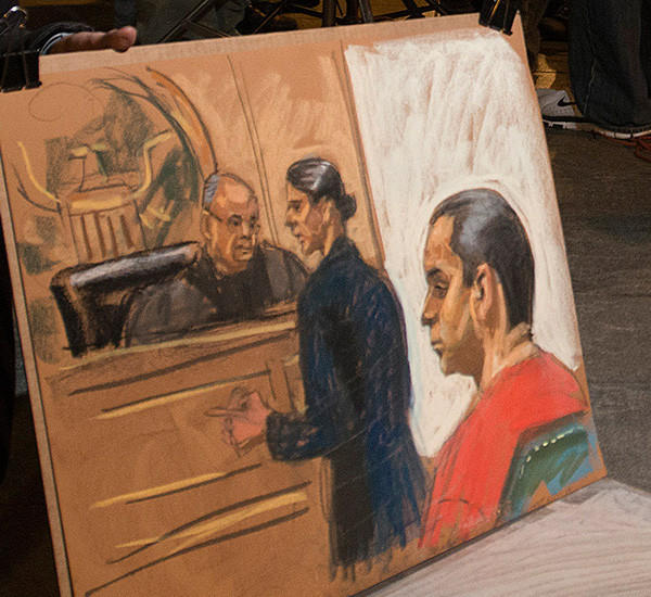 A drawing by a sketch artist of Gilberto Valle III, 28, when he pleaded not guilty to criminal charges in the U.S. District Court in Manhattan on Oct. 25, 2012.