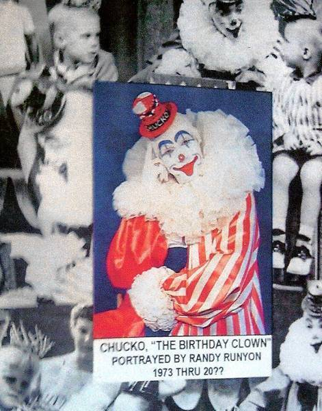 A montage shows Randy Runyon as Chucko the clown.
