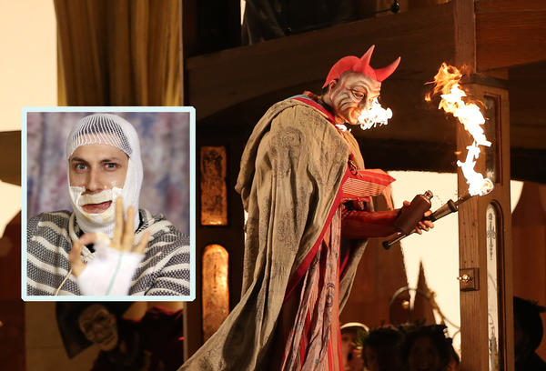 """Actor Wesley Daniel (left, inset) is recovering from his injuries after a fire breathing mishap at a dress rehearsal of Lyric Opera of Chicago's Wagner's """"Die Meistersinger von Nurnberg"""" at the Civic Opera House on Feb. 4, 2013."""