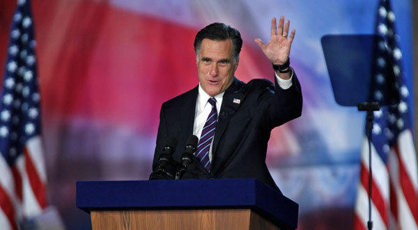 Mitt Romney in Boston on election night after losing to President Obama.
