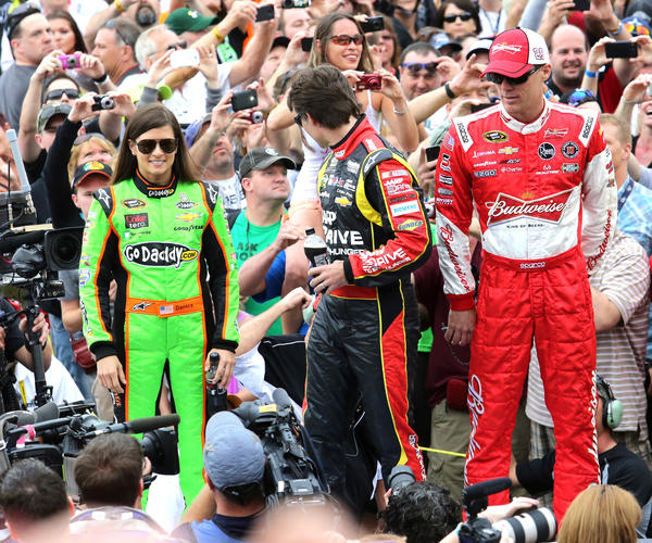 Danica Patrick, Jeff Gordon, Kevin Harvick during player introductions before the start of the Daytona 500 at Daytona International Speedway, Sunday, February 24, 2013.
