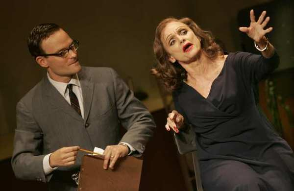 "<b>TOUGH JOB:</b> Danny Miller (Chad Allen) must get a line out of the drunken Tallulah Bankhead (Valerie Harper) in ""Looped."""