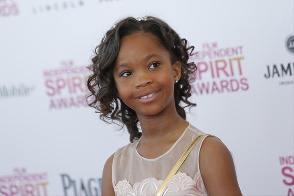 Quvenzhane Wallis arrives at the Film Independent Spirit Awards in Santa Monica.